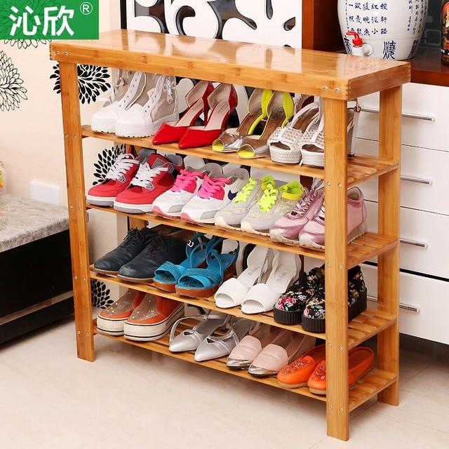 Cheap phone bamboo shelf shelf shoe rack simple modern wood dust floor home wearing his shoes Gordon
