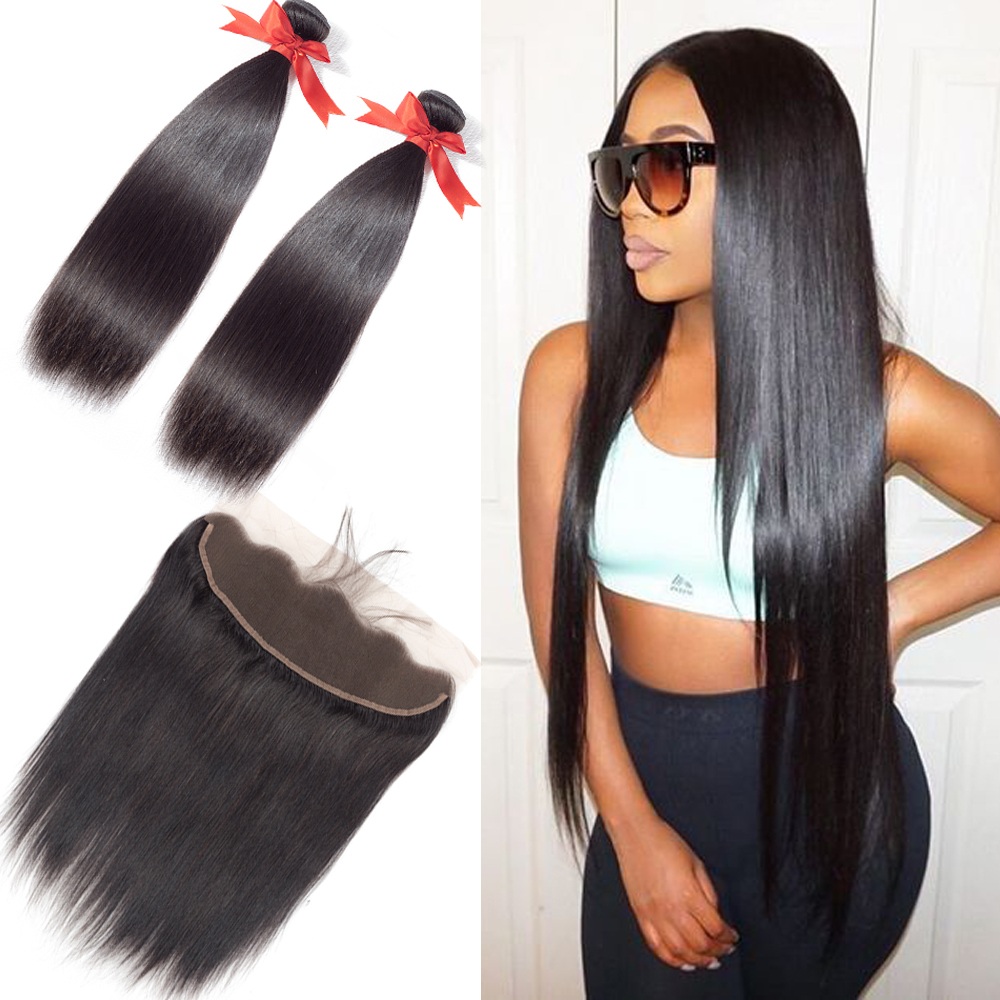 BEAUDIVA Ear To Ear Lace Frontal Closure With 2 Bundles Brazilian Straight Natural Color Human Hair