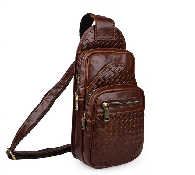 7250B Free Shipping 100% Genuine Leather Embossing Vintage Funny Pack For Men Chest Bag