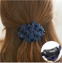 ef4b5239610c Corea moda Flor del sostenedor del ponytail garra del pelo del clip al por  mayor porción accesorios para las mujeres Niñas pelo .