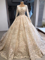 2019 Fabulous Wedding Dresses with Beading Appliques Full Sleeves Pleats Custom Made Vsetidos De Novia Puffy Ball Gown For Bride