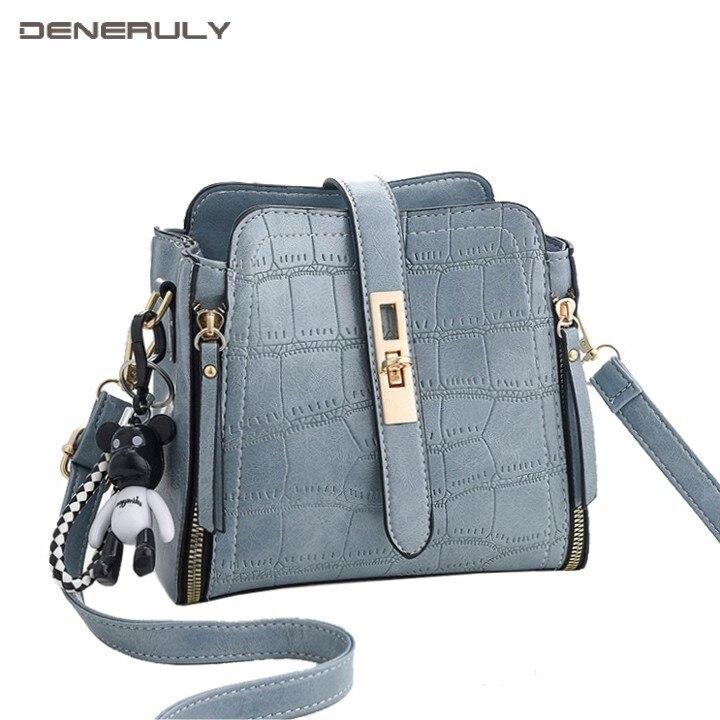 Women Stone Leather Bucket Bag Fashion small Luxury Handbags Women Bags Designer Pendant Bolsa Feminine Sac Femme 2019 Nouveau in Shoulder Bags from Luggage Bags