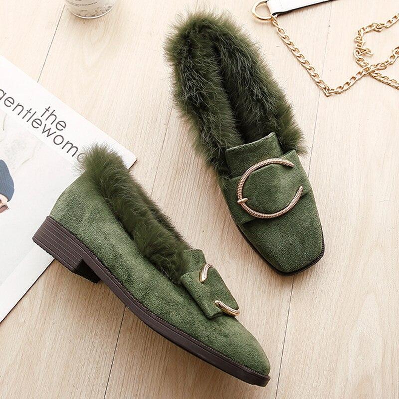 Bas Lapin D'hiver Carré Plus Chaussures Femmes Fourrure Vert Suede Métal La Talons En Boucle vert Diapositives Taille Mocassins Chaud De Peluche Bout Black Noir rafOr0