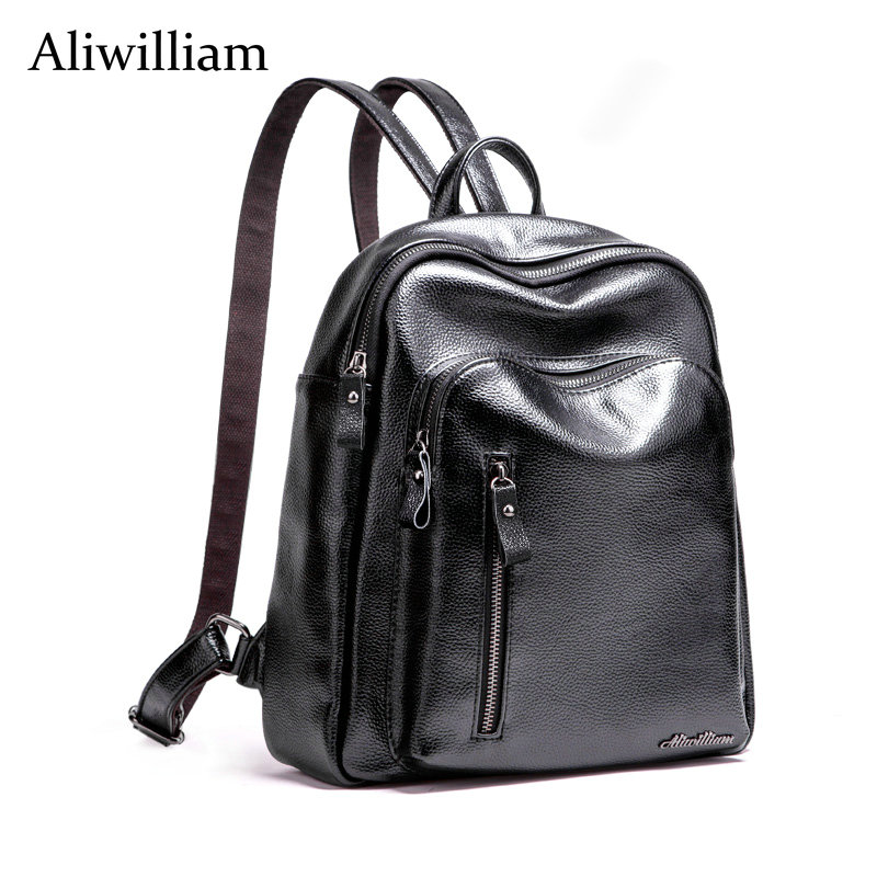 Aliwilliam New Fashion Genuine Leather Backpack Women Bags Preppy Style Backpack Girls School Bags Zipper Shoulder