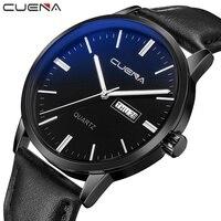 CUENA Quartz Wristwatches Men S Wrist Watch Week Display Genuine Leather Strap Mens Wrist Watches Luxury