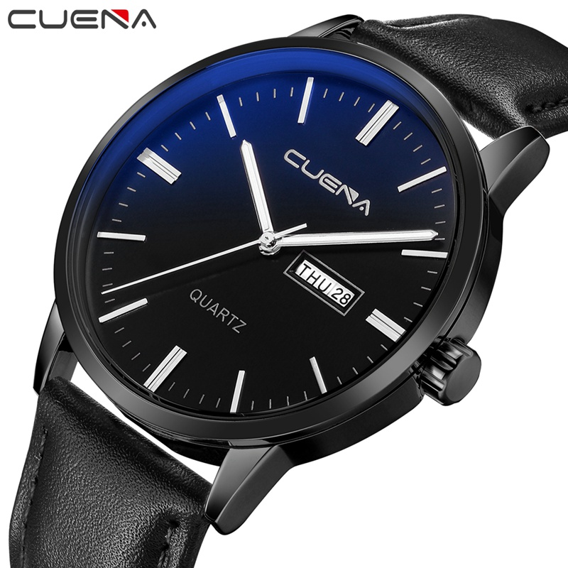CUENA Quartz Wristwatches Men's Wrist Watch Week Display Genuine Leather Strap Mens Wrist Watches Luxury Design Quartz Watch Men jim hornickel negotiating success tips and tools for building rapport and dissolving conflict while still getting what you want