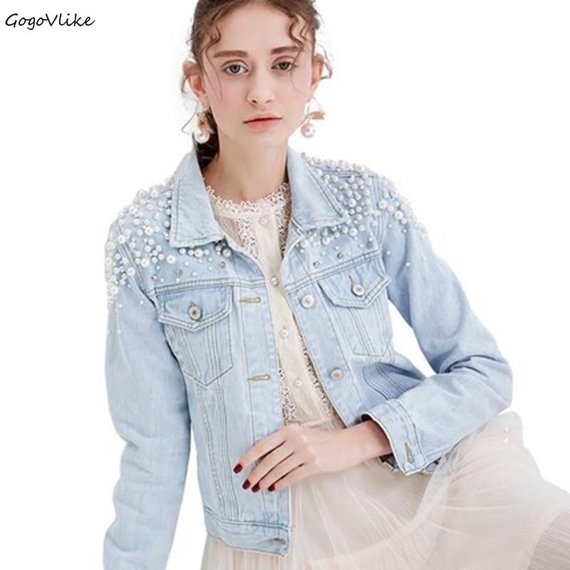 Jean Coat Women Light Blue Water Wash Beading Jean Coat 2018 Spring Denim Coat Elegant All