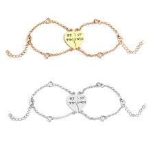 best friends bff Bracelets for 2 heart shape chain bracelet for women girls Stitching statement bracelet back to school jewelry цена