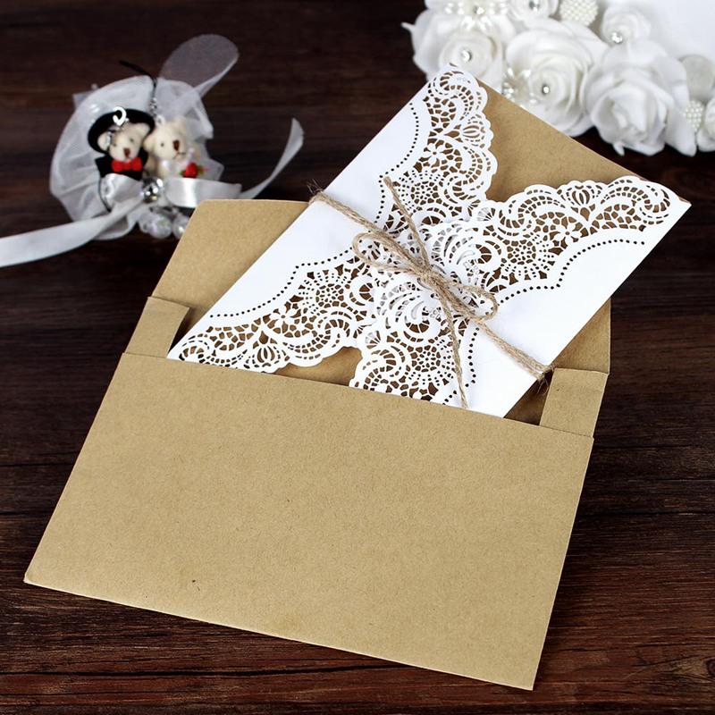 aytai 20pcs wedding invitations vintage 5x7 inch paperboard laser