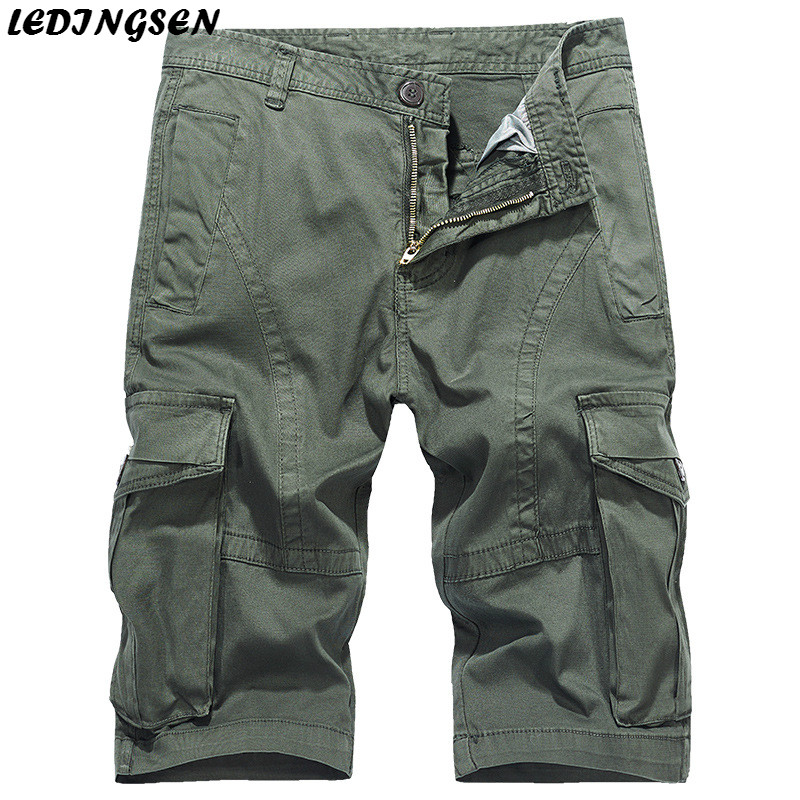 LEDINGSEN Mens Military Cargo Shorts Khaki 2018 New Army Green Tactical Shorts Black Cotton Straight Casual Short Plus Size 38