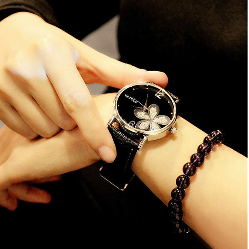 YAZOLE Luxury Crystal Watch Women's Watches Fashion Flower Ladies Watch Women Watches Clock saat relogio feminino reloj mujer