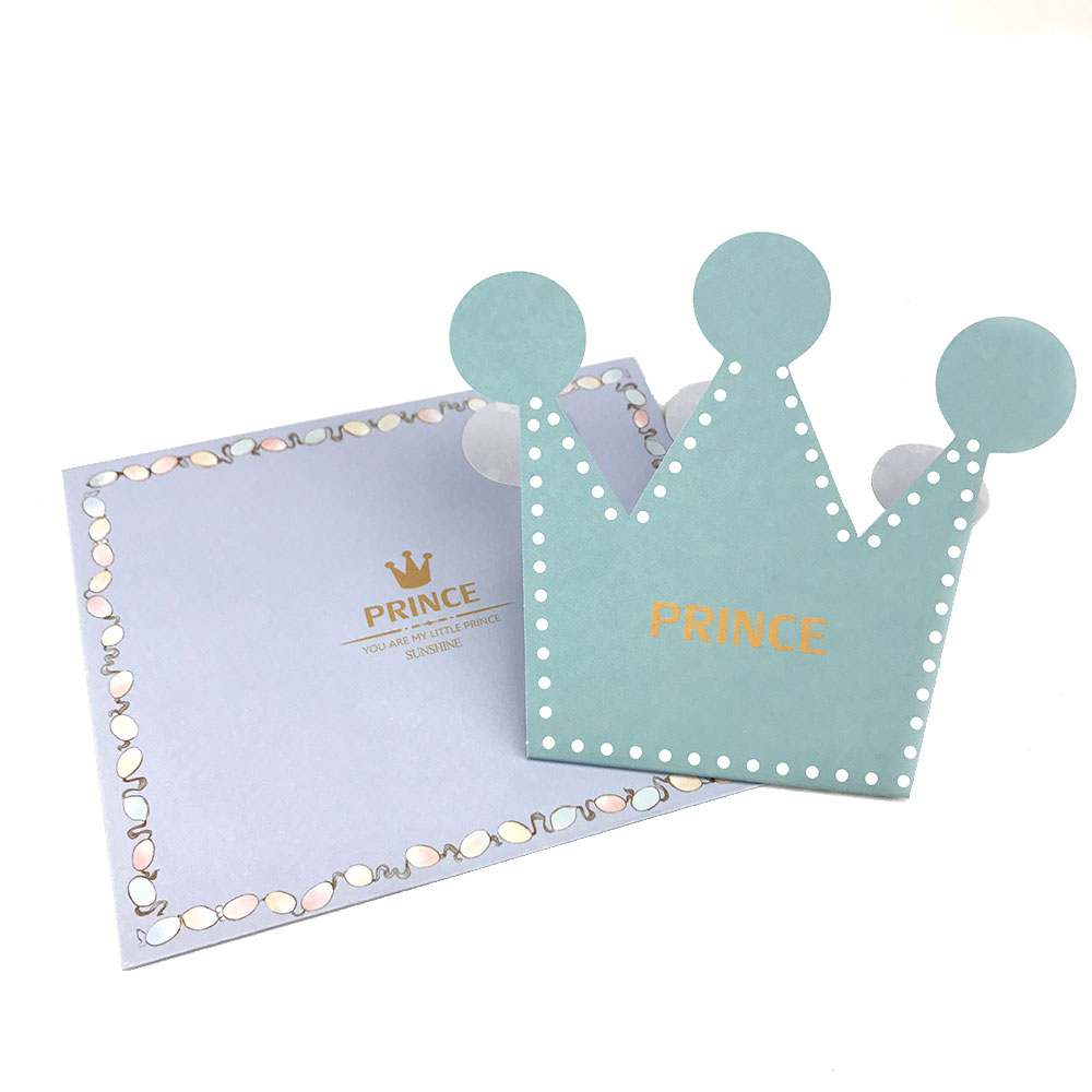 20pcs Pink Blue Prince Princess Crown Party Invitation Card Kids ...