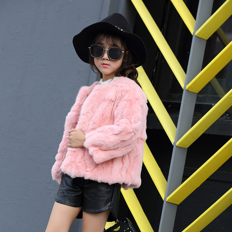 2017 Children Real Rabbit Fur Coat Kids Girls Winter Warm Solid Natural 100% Rex Rabbit Fashion Fur Coat Jacket for Girls new russia fur hat winter boy girl real rex rabbit fur hat children warm kids fur hat women ear bunny fur hat cap