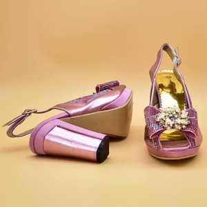 Image 5 - Pink Color Italian Shoes with Matching Bags High Quality Shoes and Bag Set African Sets 2019 Ladies Shoes with Matching  ZS 12