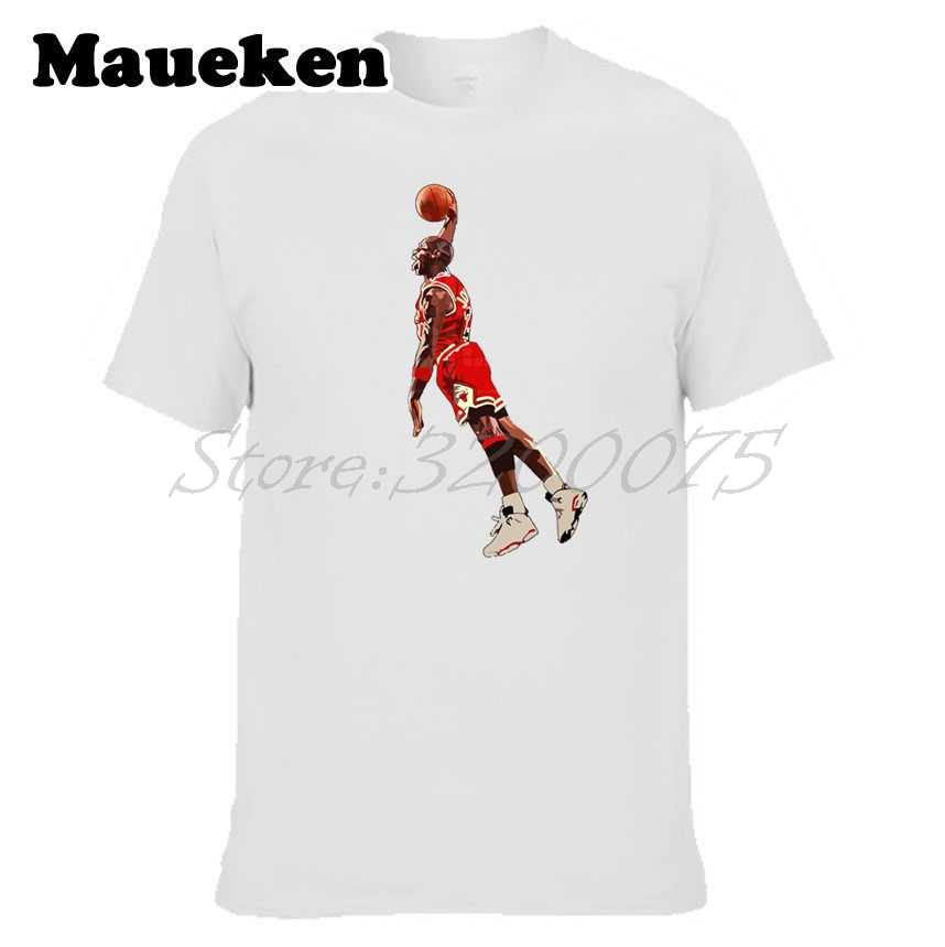 d4a40a663f7 Men Flying Man Slam Dunk 23 Michael Jordan cartoon Fly In the air T-shirt