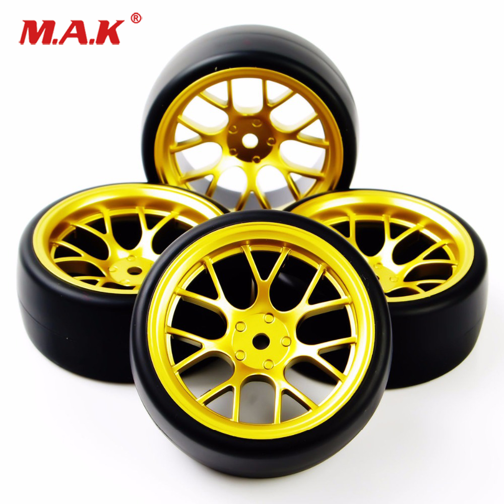 4pcs Rc Hard Pattern Drift Tires Tyre Wheel Rim Samurais 6mm Offset painting Silver Fits For 1:10 Drift Car Wide Selection;