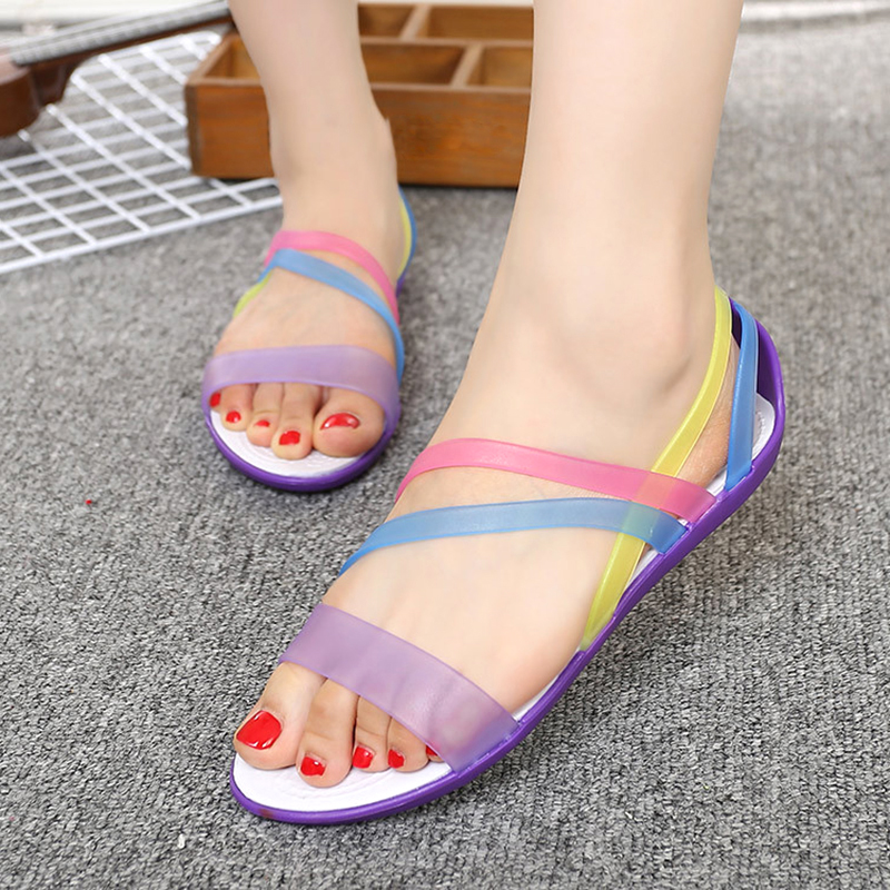 Women Sandals Beach Jelly Shoes Woman Flat Sandals New PVC Soft Mixed Candy Colors Summer Casual Slip On SandalsWomen Sandals Beach Jelly Shoes Woman Flat Sandals New PVC Soft Mixed Candy Colors Summer Casual Slip On Sandals