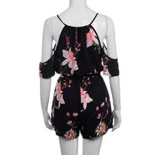 Summer Rompers Women Casual Playsuit Fashion Bohemian Floral Printed Jumpsuit Ladies Off Shoulder Beach Bodycon Jumpsuits #Zer