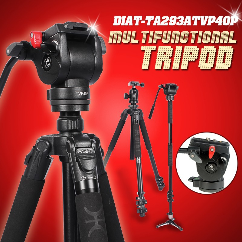 DIAT Professional Portable Aluminium Camera Camcorder Tripod for Video DSLR Camera Stand with Hydraulic Head manfrotto miliboo miliboo mtt705a without head portable aluminium monopod for professional camcorder video camera dslr tripod stand