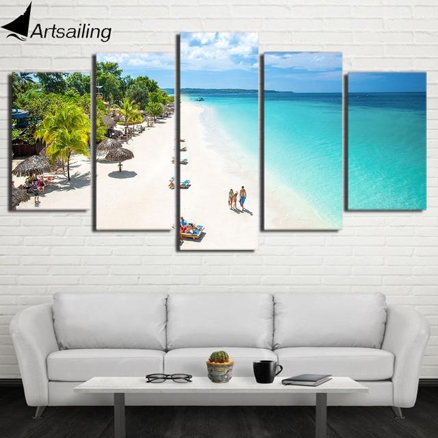 Hd Dicetak 5 Piece Kanvas Seni Pantai Tropis Lukisan Biru Laut Dinding Untuk Ruang Tamu Home