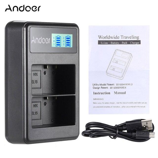 Cargador de batería de iones de litio recargable con pantalla LED Andoer EN-EL15 con Cable USB para Nikon 1 V1 D600 D610 D750 D800 D810 d810A ect