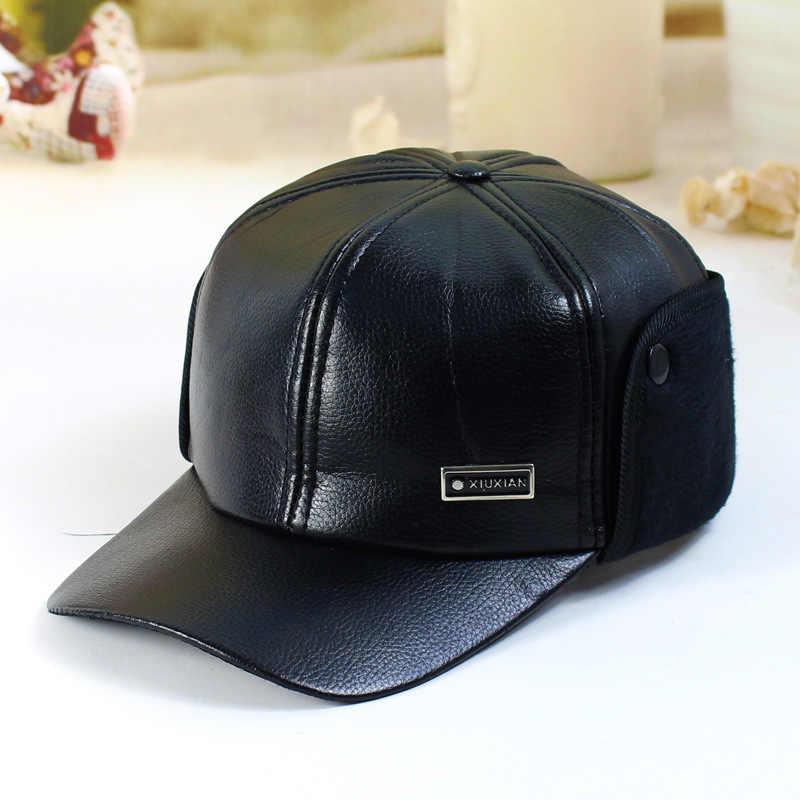 1c45d030e Fibonacci High quality men's winter hat warm ear protection plus velvet  thick middle aged elderly leather baseball cap