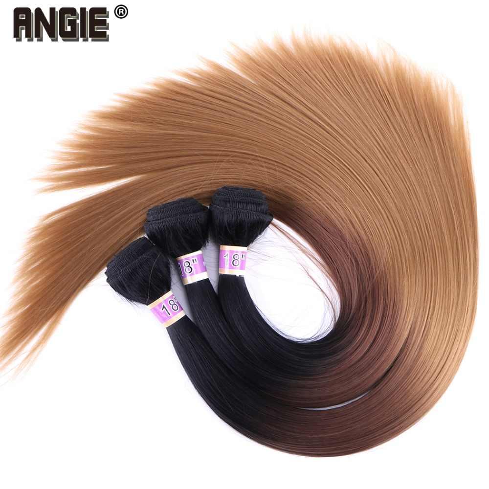 ANGIE Synthetisch Haar Weave Drie Tone Ombre Haar Bundels Silky Straight Hair Weave 1 Stuk