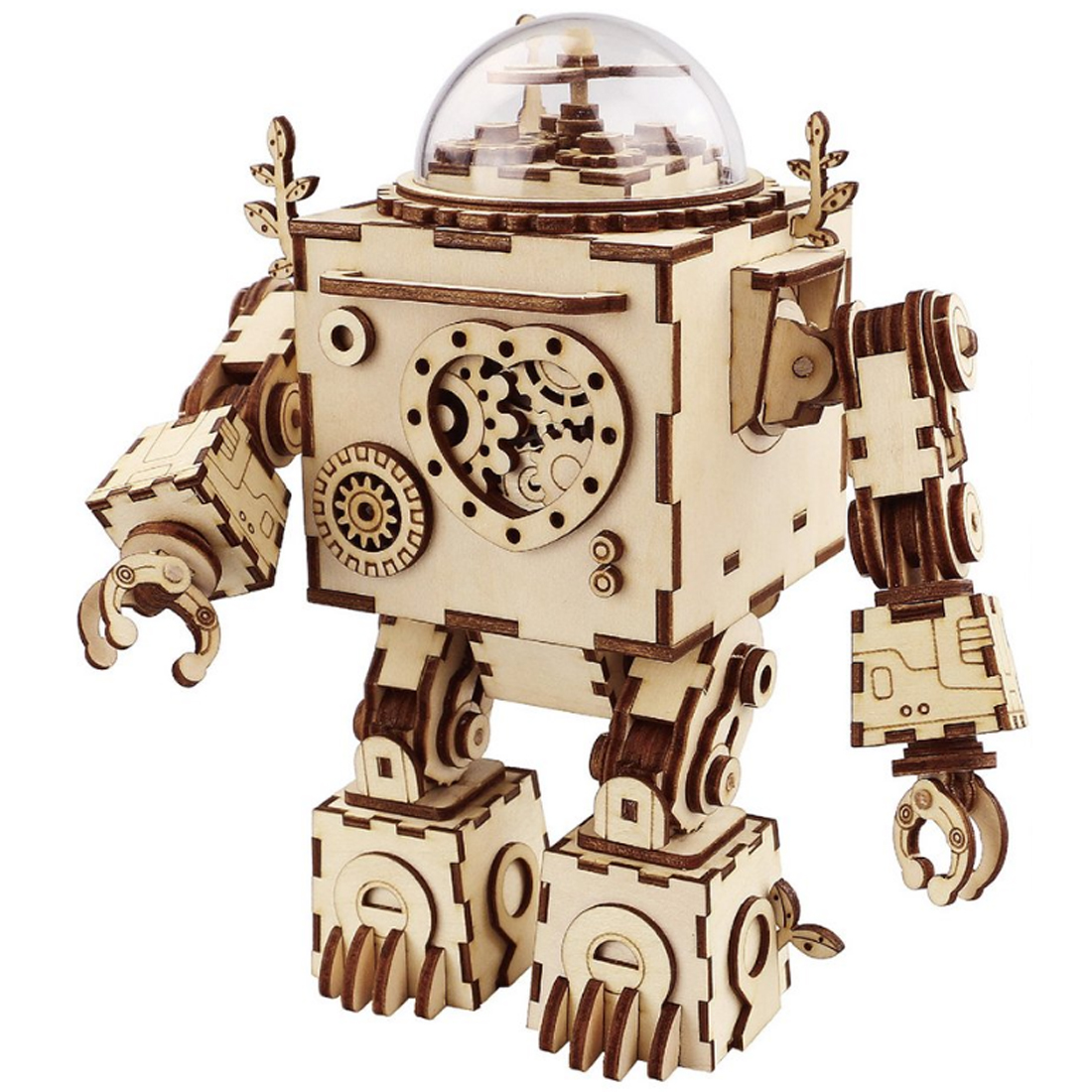 Robot Model Wooden Gear DIY 3D Puzzle Steampunk Music Box for Patience and Hands-on Ability Development-Burlywood diy wooden assembling brontosaurus model burlywood