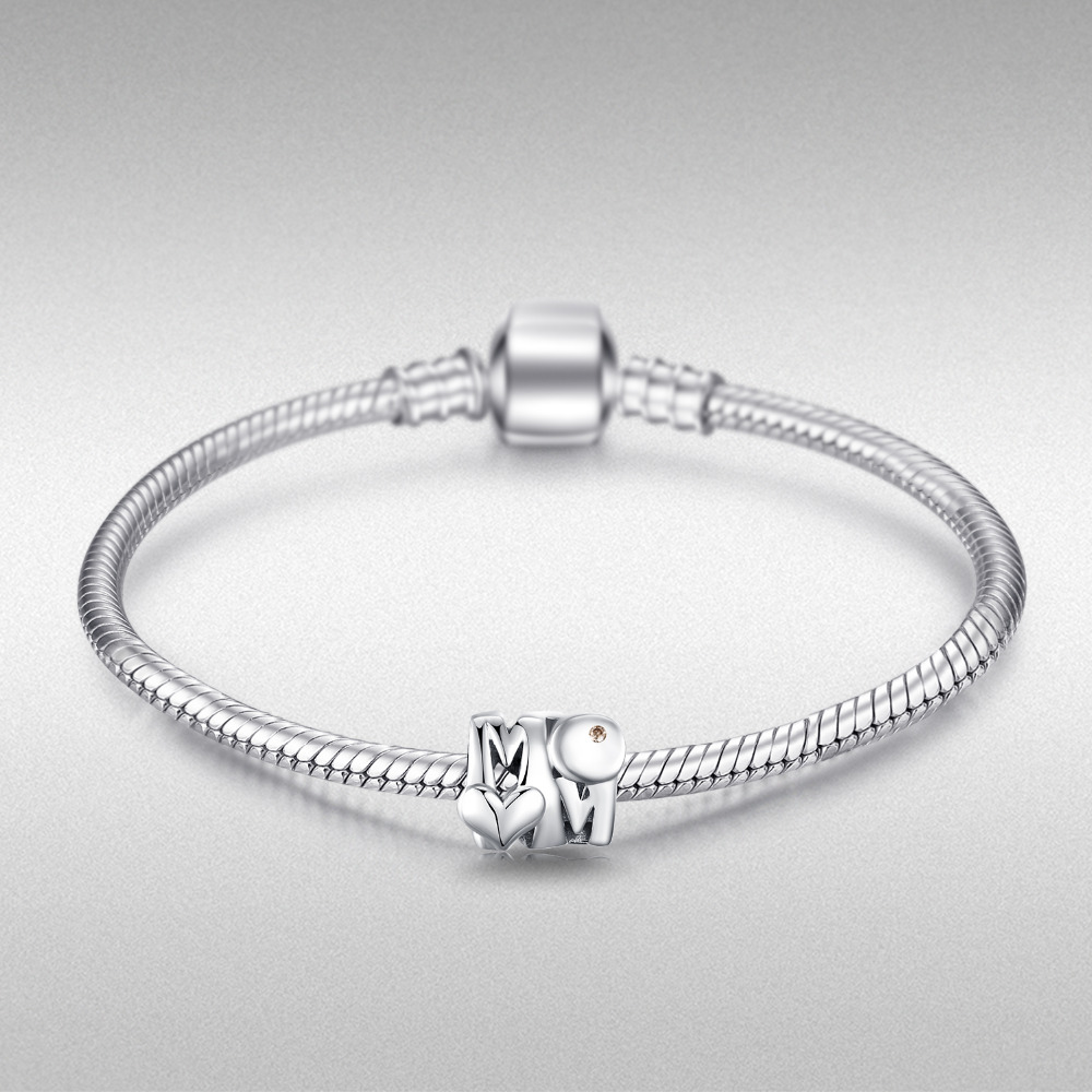 JewelryPalace 925 Sterling Silver Heart Mother Beads Charms Silver 925 Original For Bracelet Silver 925 original Jewelry Making in Charms from Jewelry Accessories