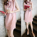 Free shipping 2016 short dress summer slim plus size dress free pink and dark blue woman fresh sweet linen tank dress fashion