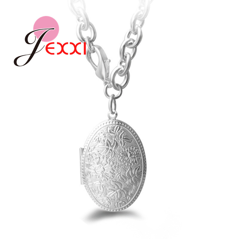 Colgante de Plata de Ley 925 con forma de foto de collar, cadena con colgante, para mujeres