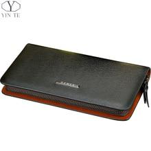 YINTE Fashion Men s Clutch Wallets Leather Zipper Wallets High Quality Clutch Bags Passport Purse Men