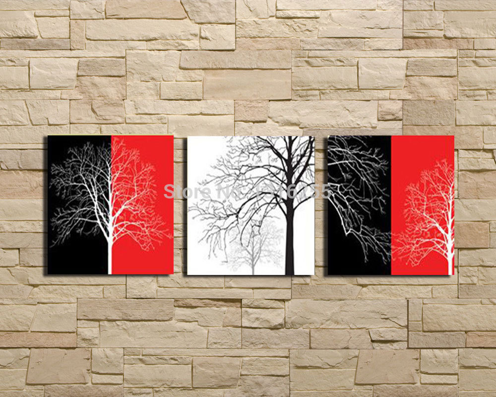handpainted wall paintings home decorative 3pcs set modern red