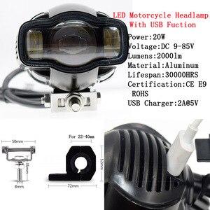 2000lm universal farol da motocicleta farol farol lâmpada moto led luzes de nevoeiro com carregador usb para harley chopper cafe racer bmw