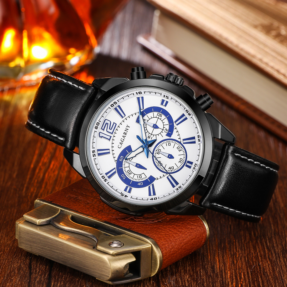 quartz wristwatches leather strap sports watches casual mens wrist watch black case (4)