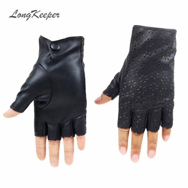 23f63b7bdd8f27 LongKeeper Damen Fingerlose Handschuhe Atmungsaktive Weiches Leder  Handschuhe für Dance Party Zeigen Frauen Schwarz-halbe