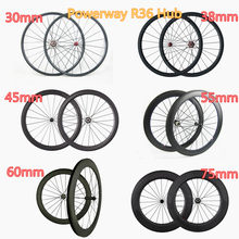 Powerway R36 moyeu carbone roues 30mm 35mm 38mm 45mm 50mm 55mm 60mm 75mm 88mm profondeur 25mm largeur tubulaire ou pneu 700C roues(China)