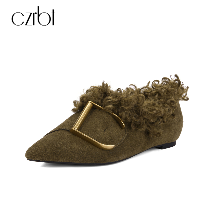 CZRBT High Quality Autumn Winter Women Shoes Cow Suede Leather Loafers Warm Short Plush Pointed Toe Flats Woman Casual Shoes