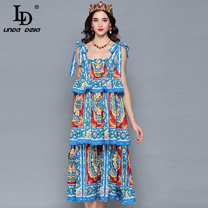 LD LINDA DELLA Runway Designer Summer Dress Women s Ruffles Tiered Floral Print Casual Vacation Holiday
