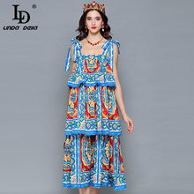 LD LINDA DELLA Runway Designer Summer Dress increspature da donna a strati stampa floreale Casual Holiday Holiday Dress vestido