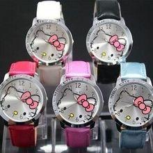 Hot Sale Fashion Cute Hello Kitty Watches Children Girls Women Crystal Dress Quartz Wristwatch Mix Color