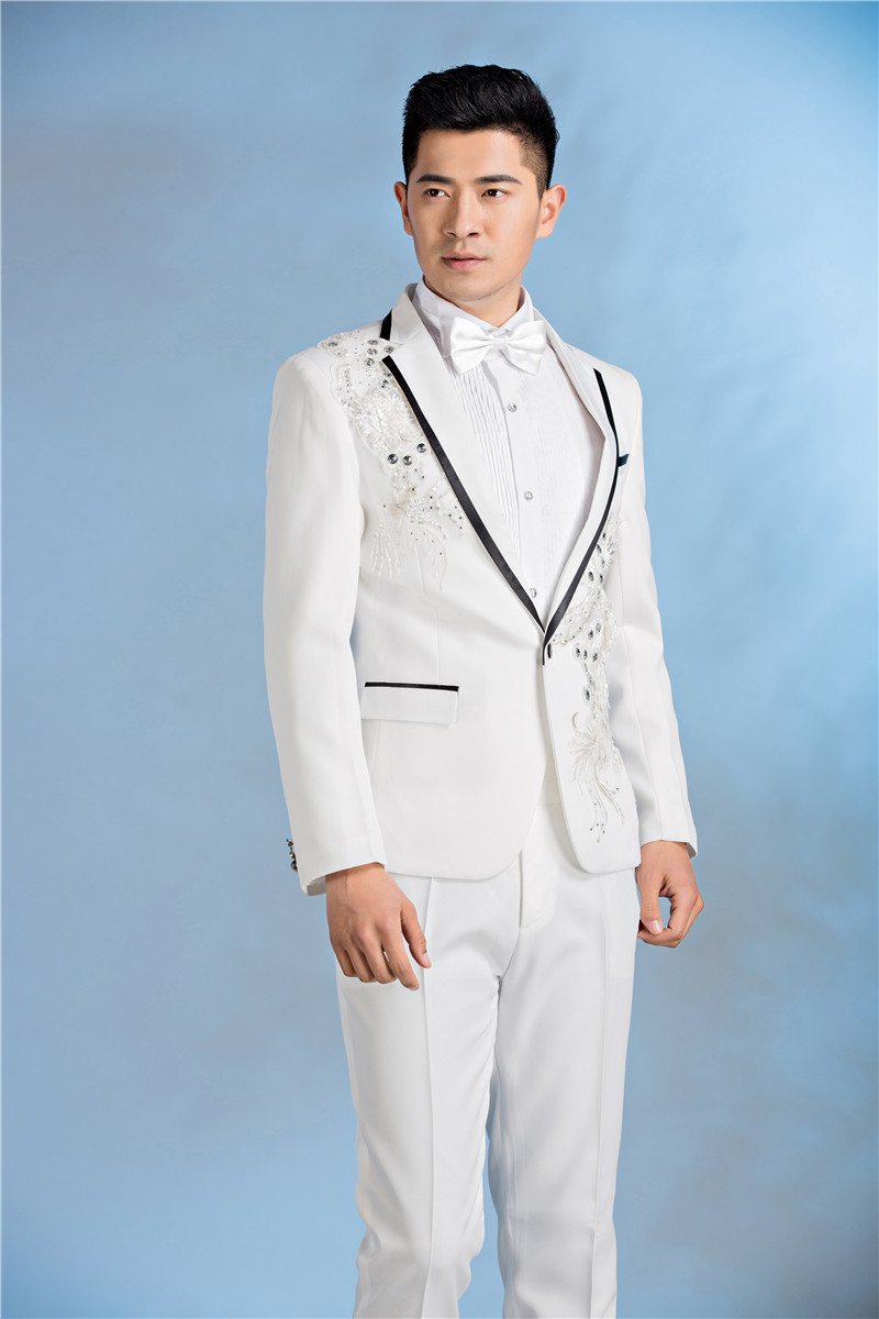 New Custom Homme Mariage White Singer Stage Performance Service Men ...