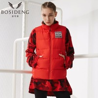 BOSIDENG Women Stand Fashion Thin Section Down Vest Female Short Paragraph B70132012