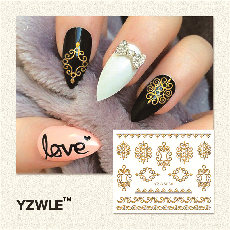 WUF 1 Sheet  Hot Gold 3D Nail Art Stickers DIY Nail Decorations Decals Foils Wraps Manicure Styling Tools (YZW-6030) yzwle 1 sheet new nail art full cover blue flower stickers decals water transfer wraps decorations manicure care tools