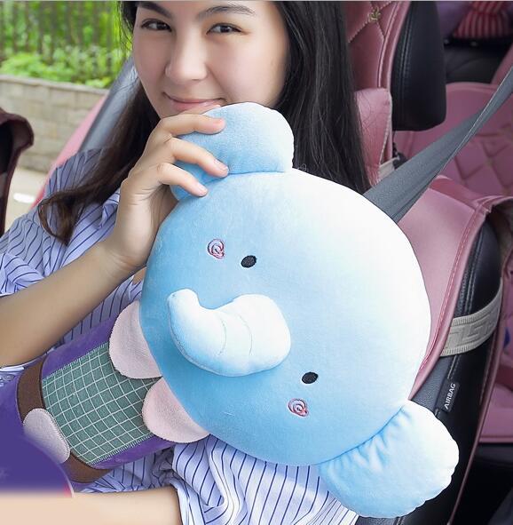 1 unids Bebé Grande Cojín Suave Felpa Animales Elefante Accesorios Del Coche del Cinturón de Seguridad Cubre Asiento de Coche