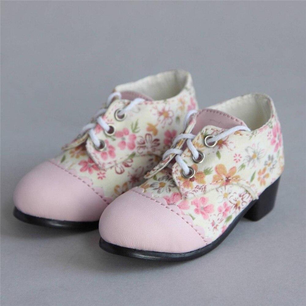 [wamami] 48# Pink Flower Splice 1/3 SD DZ DOD BJD Dollfie Medium Heel Shoes