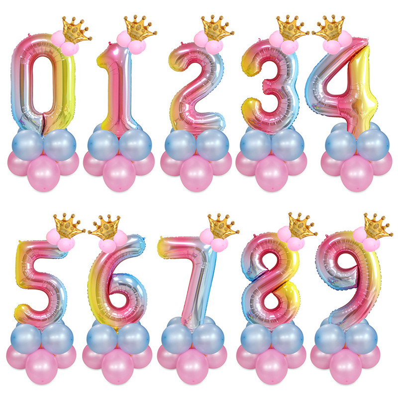 Cartoon Hat 40inch Number Digital Birthday Crown Foil Helium Balloons Gradient Colorful Decorations Party Supplies Baby Hat