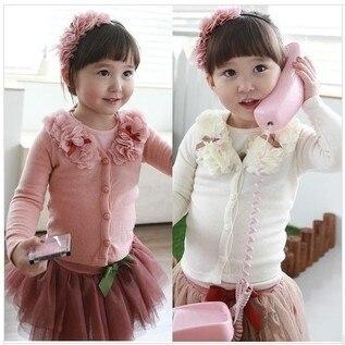 2015 новые девушки кардиган детей новорожденных девочек весна осень с длинным рукавом свитер пальто с цветок верхней одежды для ребенка 2 - 6 т