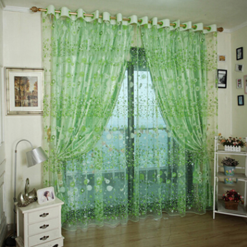 1 PC Floral Print Curtains Modern Postoral Curtains for Living Room Transparent Curtains Window Drapes Sheer for the Bedroom