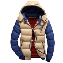 2016 Men's new high-quality warm coat Hooded removable removable fashionable large size M-4XL splicing color 100% cotton WZ303